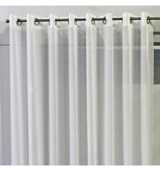 Paire de Voilage mousseline blanc nonfeu M1 sur oeillet 2 x 160 x 230cm