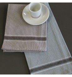 LOT DE 12 SERVIETTES DE TABLE CHAMBRAY COTON