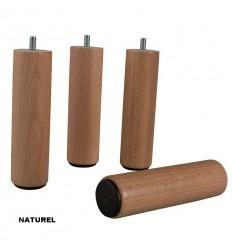 Paire de Pieds de sommier bois cylindrique